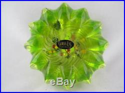 Vintage Art Glass- Glass Eye Studio Green Urchin with Canes Paperweight- #118