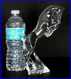 Vintage BACCARAT Art Glass REARING STALLION Horse Figurine / Mid-Century Modern