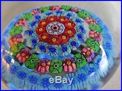 Vintage BACCARAT Crystal France CONCENTRIC MILLEFIORI Paperweight Art Glass
