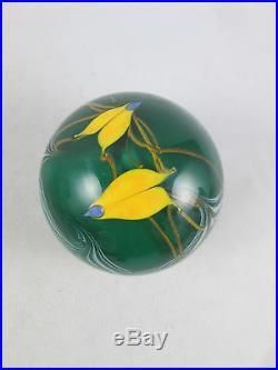Vintage Buzzini Bridgeton Studios Art Glass Paperweight Yellow Birds Signed