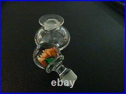 Vintage Charles Kaziun Jr & PAIRPOINT Glass PERFUME BOTTLE Crimp Rose Stopper