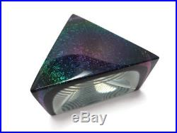 Vintage Correia Limited Edition Optical Art Glass Triangle Paperweight Signed