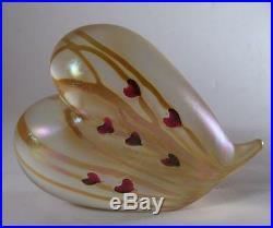Vintage Correia Studio Art Glass Iridescent Heart 4 1/2 Paperweight