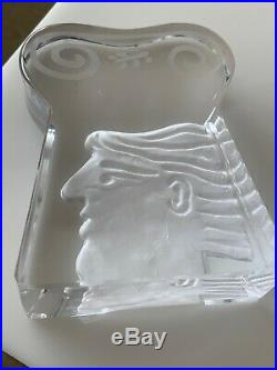 Vintage Daum France Crystal Paperweight Sculture Signed Fassianos