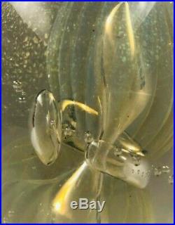 Vintage Eickholt Art Glass Paperweight Iridescent Egg Signed 1988