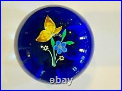Vintage FRANCIS WHITTEMORE Glass Lampwork Flower & Butterfly Paperweight