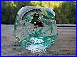 Vintage FRATELLI TOSO Murano Art Glass FACETED FISH in Seaweed Paperweight Cut
