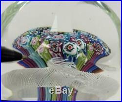 Vintage Fratelli Toso Millefiori Mushroom Latticino Faceted Glass Paperweight