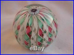 Vintage French Glass, Paperweight, Colored Swirls