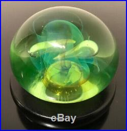 Vintage Gilbert C. Johnson Art Glass Paperweight withStand 3