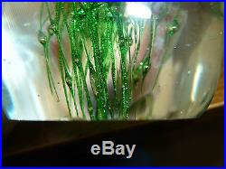 Vintage Glass Paperweight Jellyfish/Man-O-War Red/Pink Body/Green Tendrils