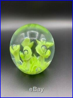 Vintage Glass Paperweight Swirl Green Orca, Beautiful Bright St. Clair