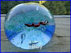 Vintage Harold Hacker Art Glass Snake Paperweight Blue Translucent Green