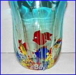 Vintage Heavy Original Murano Art Glass Fish Aquarium 7 Vase Paperweight