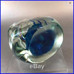 Vintage Italian Murano Aquarium Angel Fish 3 Blue Glass Paperweight Sculpture