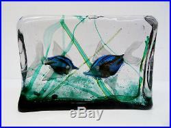 Vintage Italy art glass paperweight Designer Murano Glas 2 Fische Aquarium