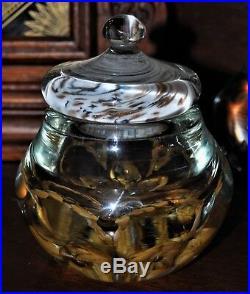 Vintage JOE ZIMMERMAN Hand Blown Large Art Glass Lidded Trinket Box