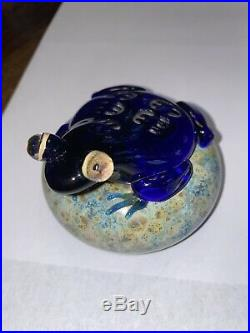 Vintage JOHN NYGREN Glass Frog Paperweight Signed Numbered 1983
