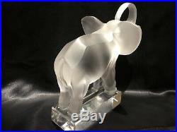 Vintage Lalique Elephant frosted French crystal paperweight figurine clear base