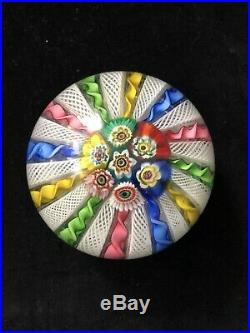 Vintage Large Murano Italy Twist Cane Milliefiori Art Glass Paperweight WOW