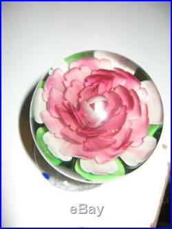 Vintage Large Pink Flower Pedestal Art Glass Paperweight