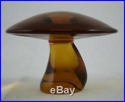 Vintage Mid-century Viking Large Amber Art Glass Mushroom Paperweight 6 X 4
