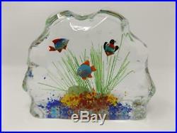 Vintage Murano Aquarium Glass Art Block Paperweight