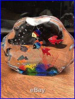 Vintage Murano Aquarium Glass Art Block Paperweight Original Label