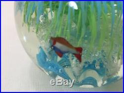 Vintage Murano Art Glass Ball Fish Paperweight, 4 3/4 Tall, 4 Lbs 4 Oz