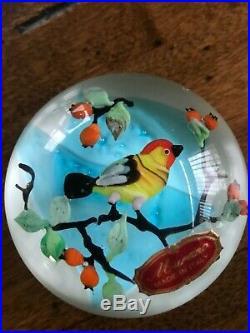 Vintage Murano Bird Paperweight Lampwork mint with sticker