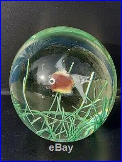 Vintage Murano Cenedese Italy Fish Aquarium Magnum Paperweight Heavy Stunning