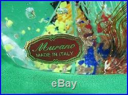 Vintage Murano Glass Aquarium Fish Paperweight With Original Label