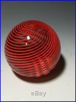 Vintage Murano Glass Paperweight Venini Italia Ribbon Swirl