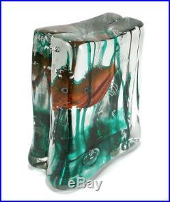 Vintage Murano Italian Art Glass Fish Aquarium Glass Block Sculpture Paperweight