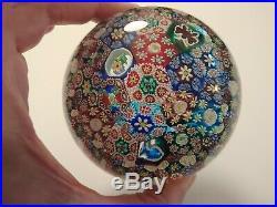 Vintage Murano Millefiori Italian Glass Paperweight W Label Magnum Size Nice