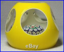 Vintage Murano Yellow Overlay Concentric Millefiori Faceted Paperweight