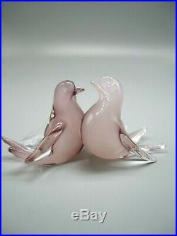 Vintage Murano opaline cased glass lovebirds doves Archimede Seguso