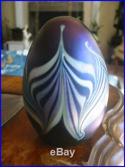 Vintage ORIENT AND FLUME PAPERWEIGHT Blue, Pulled Feather Design, 3, 1977