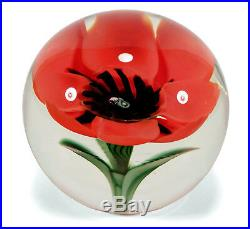 Vintage Orient Flume Art Glass Crystal Paperweight Chico California Poppy Flower
