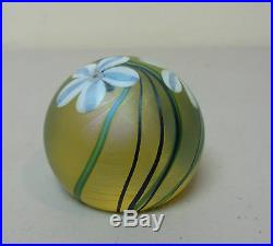 Vintage Orient & Flume Gold Iridescent Art Glass Paperweight, Signed, Dated 1984