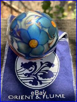 Vintage Orient & Flume Teal Flower Iridescent Paperweight