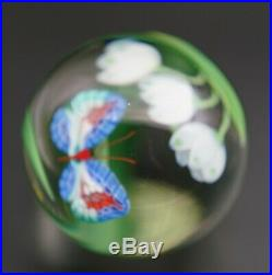 Vintage Orient and Flume Signed Limited Edition Art Glass Paperweight Flowers &
