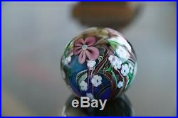 Vintage Orient and Flume Signed and dated 1982 Art Glass Paperweight Flowers