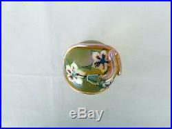 Vintage Orient&flume floral iridescent gold snake art glass paperweight signed