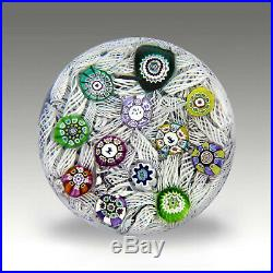Vintage Perthshire PP11 signed millefiori glass paperweight / presse papiers
