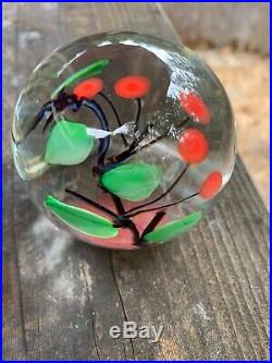Vintage RARE Early Glass Eye Studio Cherries On A Branch Paperweight