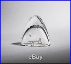 Vintage RARE TAPIO WIRKKALA for iittala Glass Art Object with Reindeer Scene