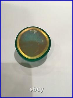 Vintage Robin Lehman Iridescent Green Dichroic Glass Sea Urchin Paperweight 2007