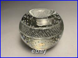 Vintage Signed Webb Glass Controlled Bubble Match Striker Paperweight