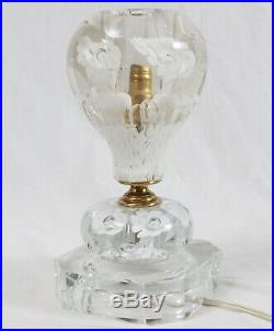 Vintage St. Clair Glass Table TV Lamp Art Glass White Trumpet Floral Paperweight
